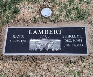 Custom designed flat grave marker in jet black, designed by Columbia Gardens Memorials