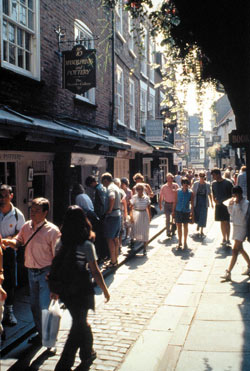 People walking down the Shambles in York