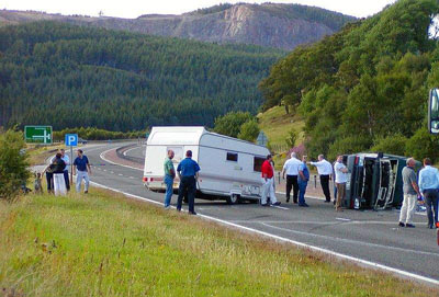 Caravan tyre blow out accident