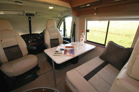 Autocruise Quartet Front cab seating area