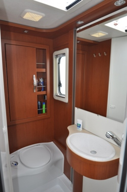 Hymer B544 motorhome's beautifully designed bathroom