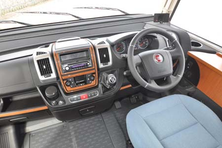 Drivers cab in the 2013 Hymer B544 motorhome
