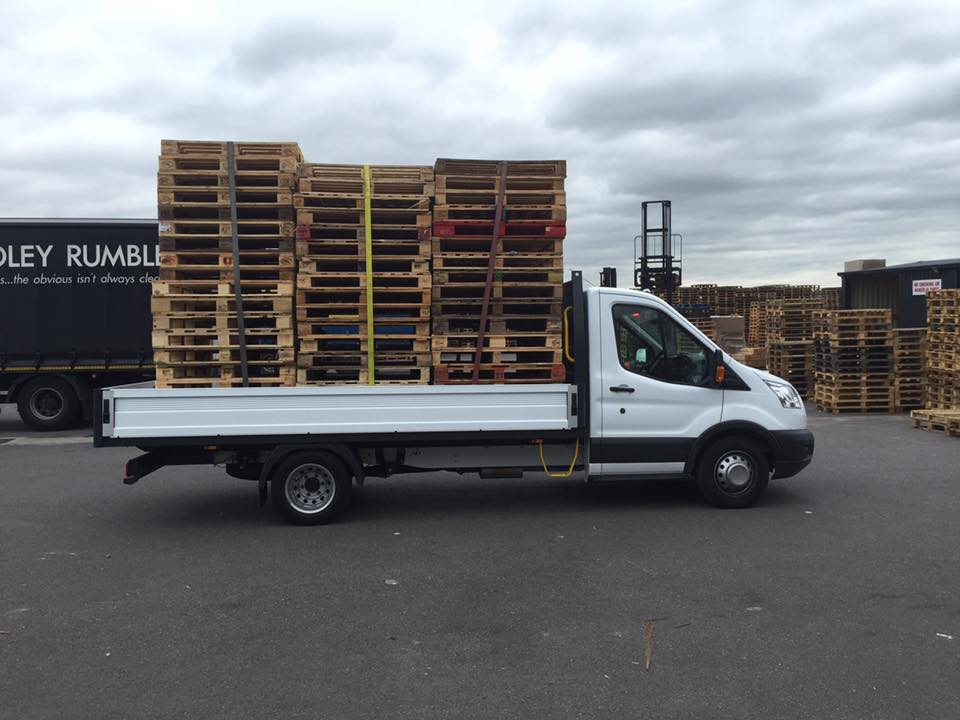 Van ready to head out on a pallet delivery