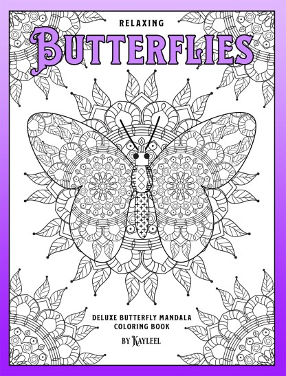 Relaxing Butterflies: Deluxe Butterfly Mandala Coloring Book Front Cover