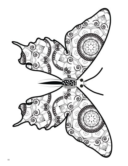 Relaxing Butterflies: Butterfly Mandala Coloring Book image 3