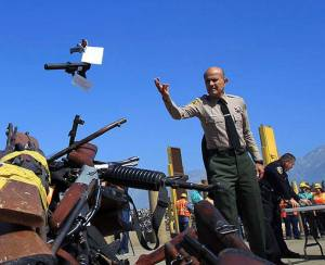 Sheriff Lee Baca at a Los Angeles gun buyback. From Facebook.