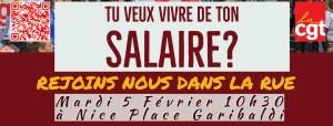 Pour répondre à l'urgence sociale, la CGT appelle à la grève le 5 février @ Place Garibaldi