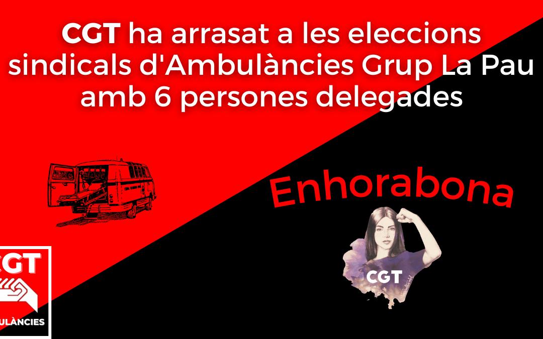 CGT arrasa a les eleccions sindicals d'Ambulàncies Grup La Pau.