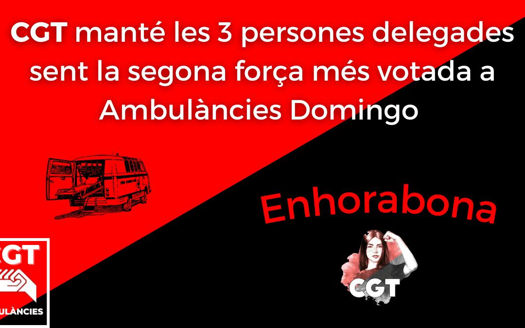 CGT mante 3 delegades a Ambulancies Domingo