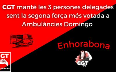 CGT segona força amb 3 persones delegades a les eleccions d'Ambulàncies Domingo
