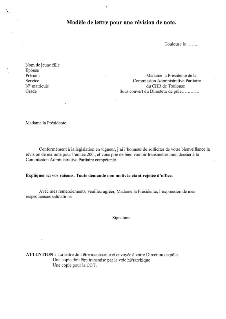 mod u00e9le de lettre de r u00e9vision de note    u2013 cgt chu toulouse