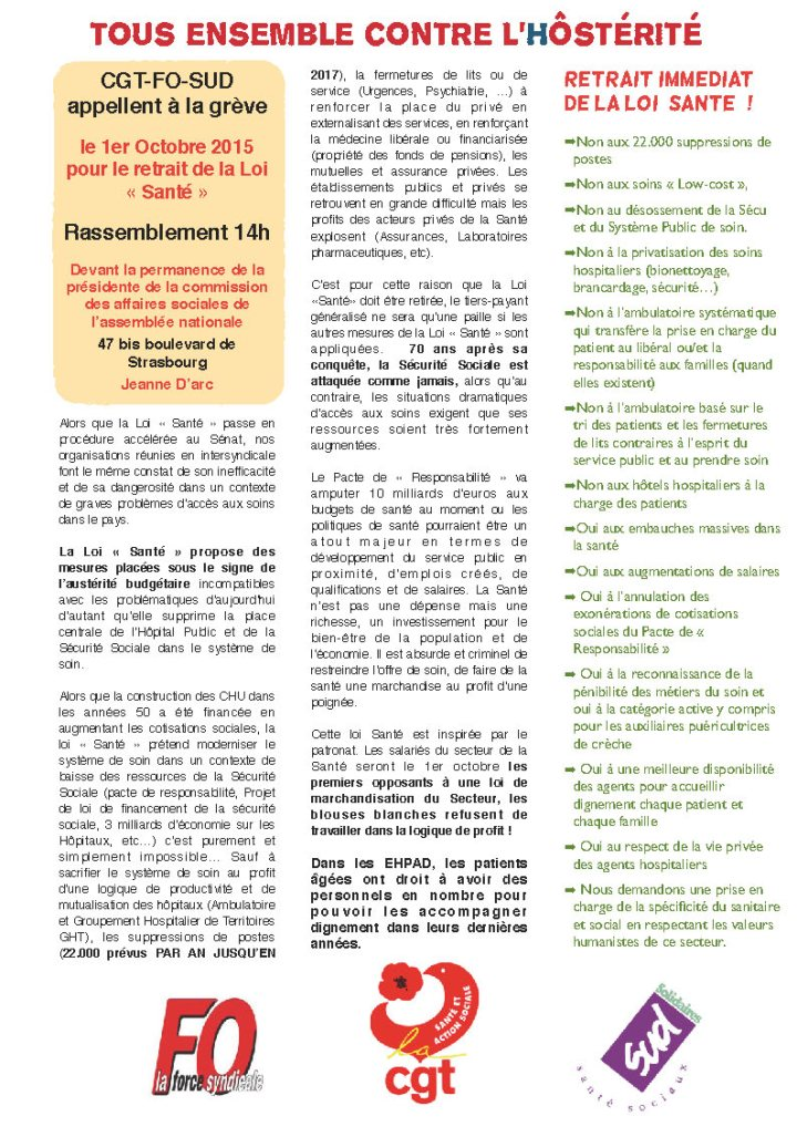 tract intersyndical 1er octobre