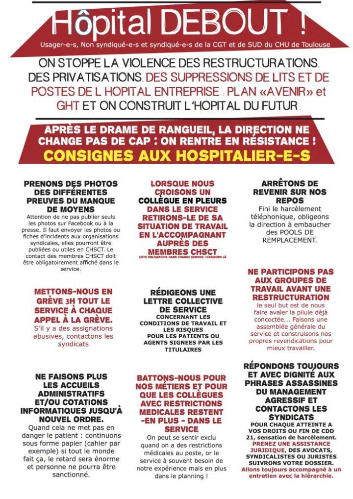 Consignes Hospitalier-es