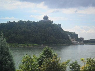 Inuyama castle on the hill and the river