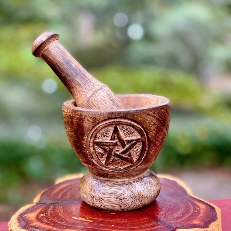 Wooden Pentagram Mortar and Pestle Set
