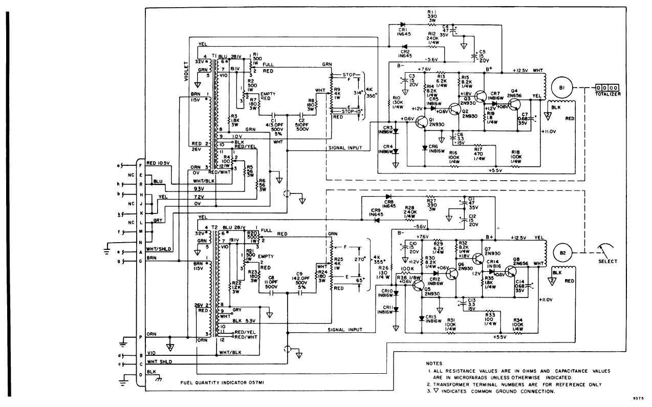 Fuel Quantity Indicating System Schematic Diagram Continued