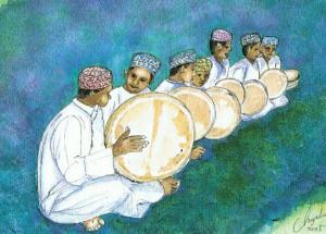 結婚式でのムスリムの音楽隊