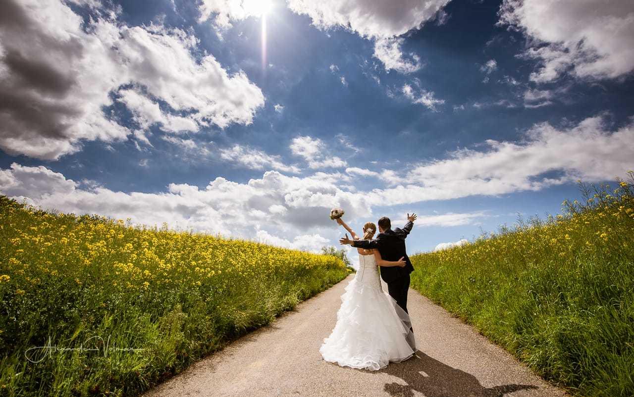 Hochzeitsfotograf Aargau beim Shooting auf einem Rapsfeld in Gebenstorf