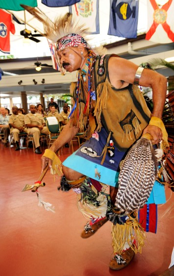 101118-N-7498L-060 PEARL HARBOR (Nov. 18, 2010) Native American Dr. David Bevett performs a traditional inter-tribal dance during the Native American heritage observance at Lockwood Hall on Joint Base Pearl Harbor-Hickam. Commander, Navy Region Hawaii celebrated Native American Heritage month themed Life is Sacred, Celebrate Healthy Native Communities, by hosting a Native American presentation of dance, music and traditions. (U.S. Navy photo by Mass Communication Specialist 2nd Class Mark Logico/Released)