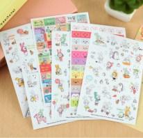 6-folhas-papel-PVC-adesivos-transparentes-Scrapbooking-papelaria-DIY-bonito-coelho-para-crianças-brinquedo-de-leite