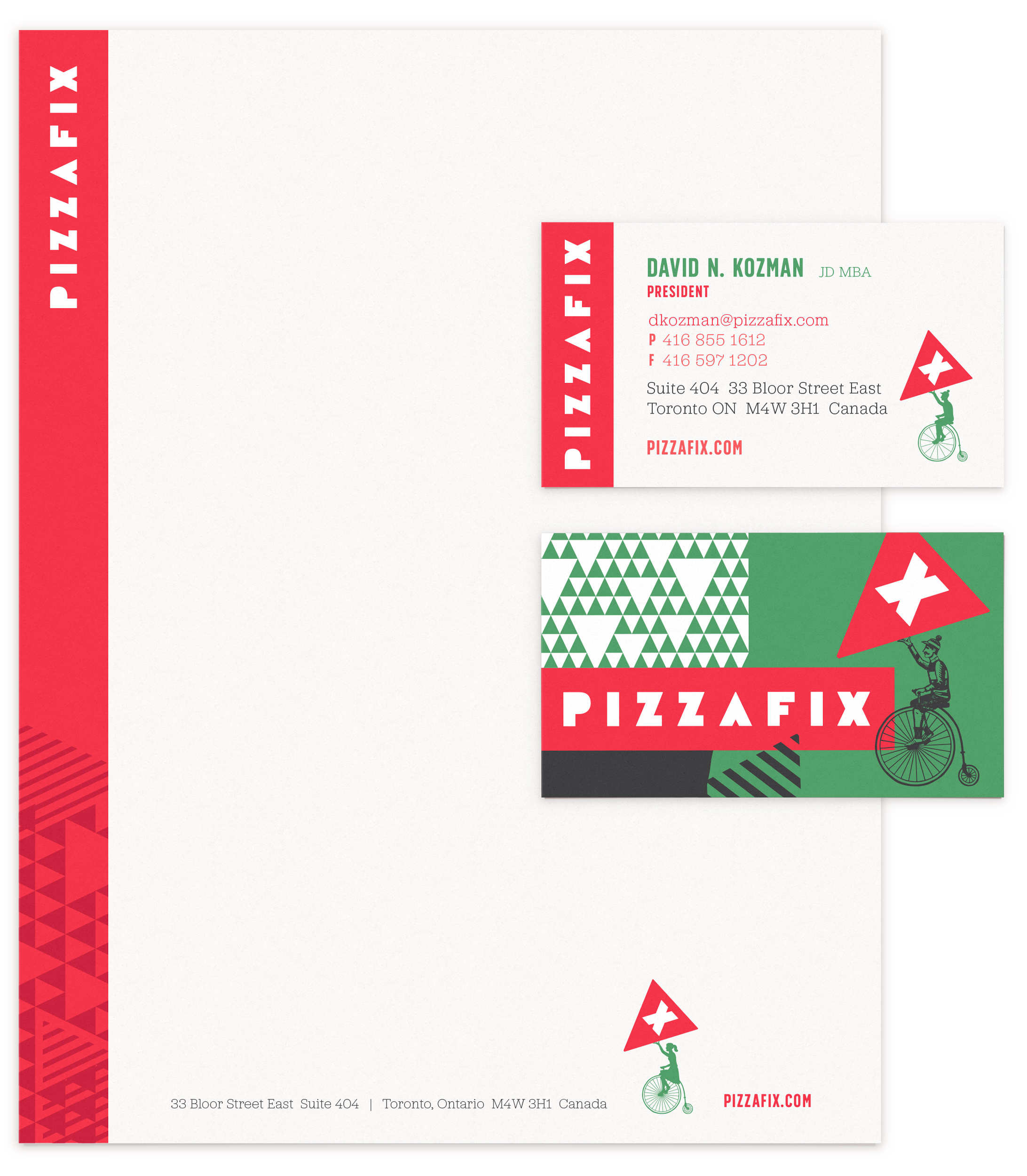 Chad Roberts Design Ltd. Pizzafix Stationery Print Collateral Business Card Letterhead Design