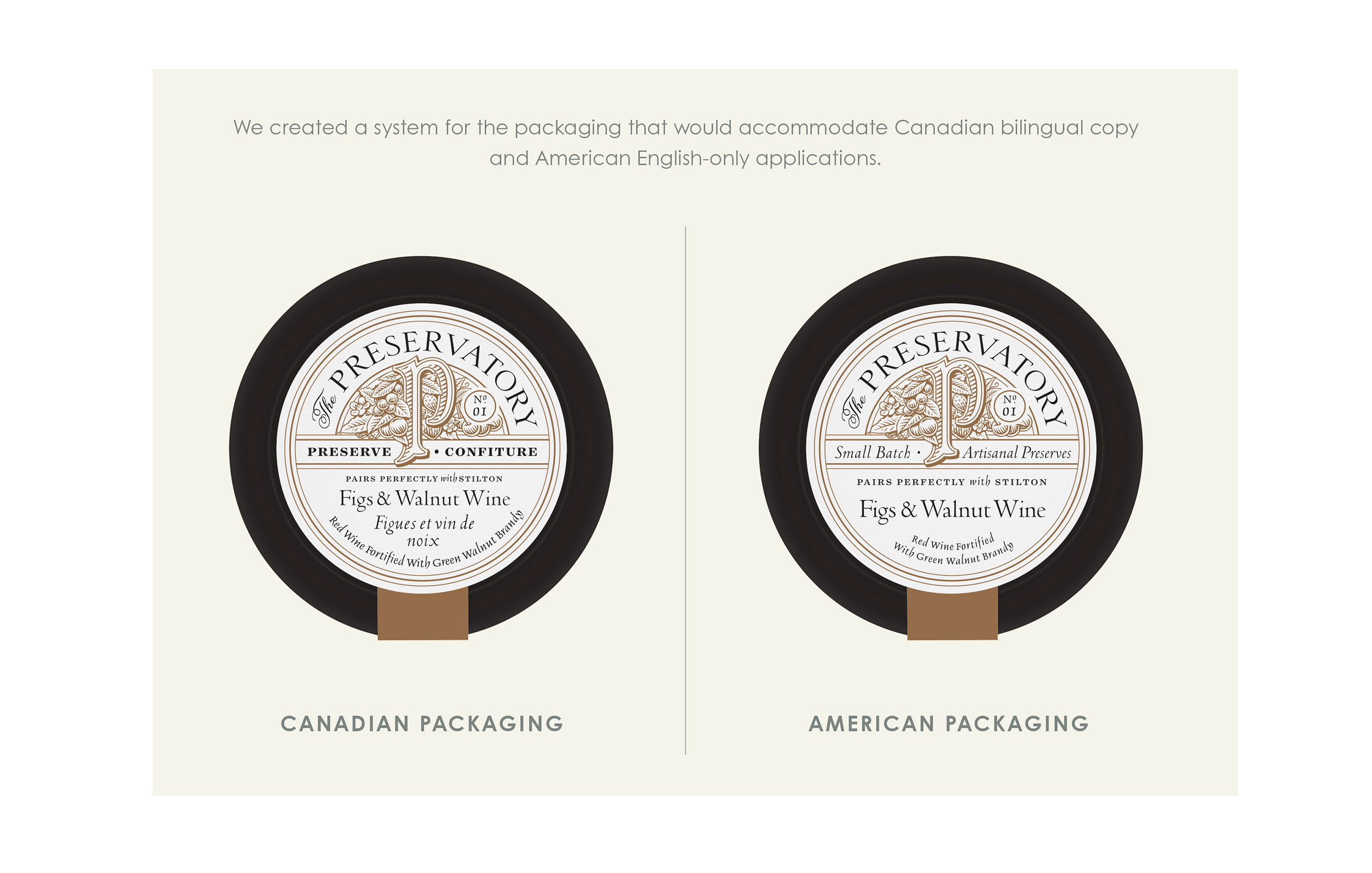 Chad Roberts Design Ltd. The Preservatory Bilingual US Package Design Layout