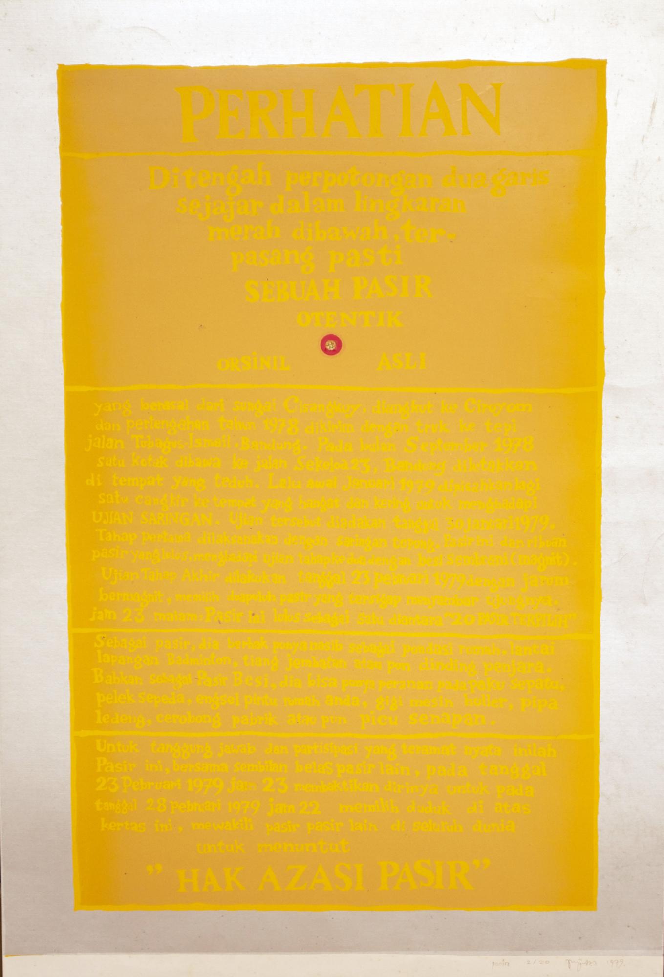 Priyanto Sunarto, Hak Azasi Pasir, cetak saring, 50 x 25 cm, edisi: 2/20, 1979.