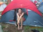 Nicole on a break in tent land.