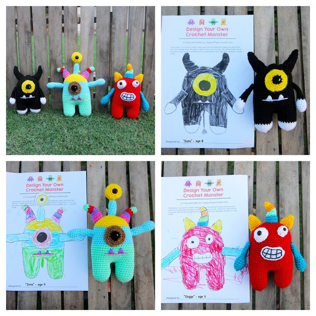 Design your own crochet monster pattern and printable