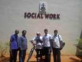 In front of Social Work Department, MCC, with staff and students