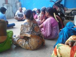Rakesh in conversation with women from West Tambaram community