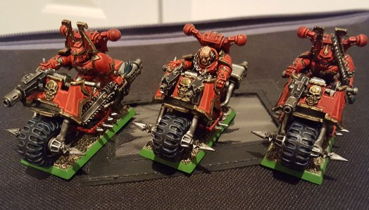 Really finished Khorne Bikers, front view