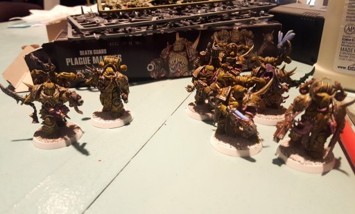 Plague Marines squad, working on highlights