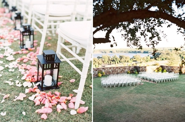 Outdoor Wedding Ceremony With Romantic Flowers Lining The Aisle