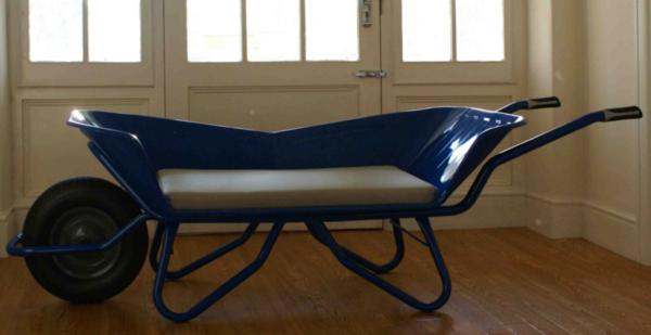 Blue Wheelbarrow Chair for Two