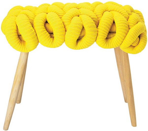 Yellow Knit Stool by Claire-Anne O'Brien