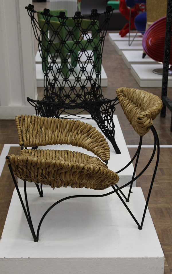 Baby Fat Chair by Tom Dixon with Knotted Chair by Marcel Wanders