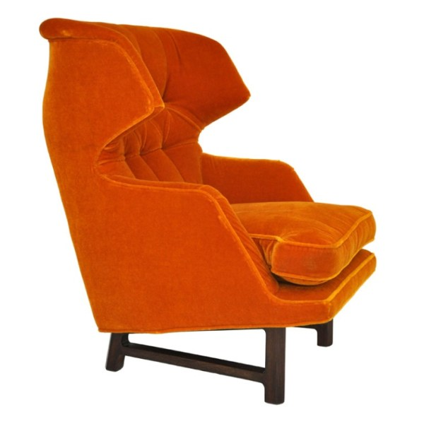 Orange Dunbar Wingback Lounge Chair by Edward Wormley