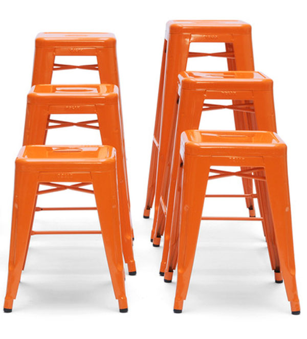 Orange Tolix H Stools by Xavier Pauchard