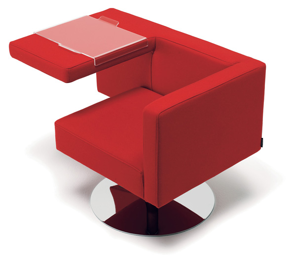 Solitaire Chair by Alfredo Haeberli in Red