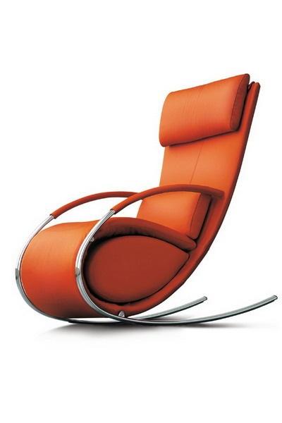 orange leather & chrome rocking chair