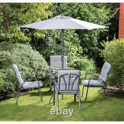 grey outdoor premium garden furniture patio set with parasol chairs table 6pc