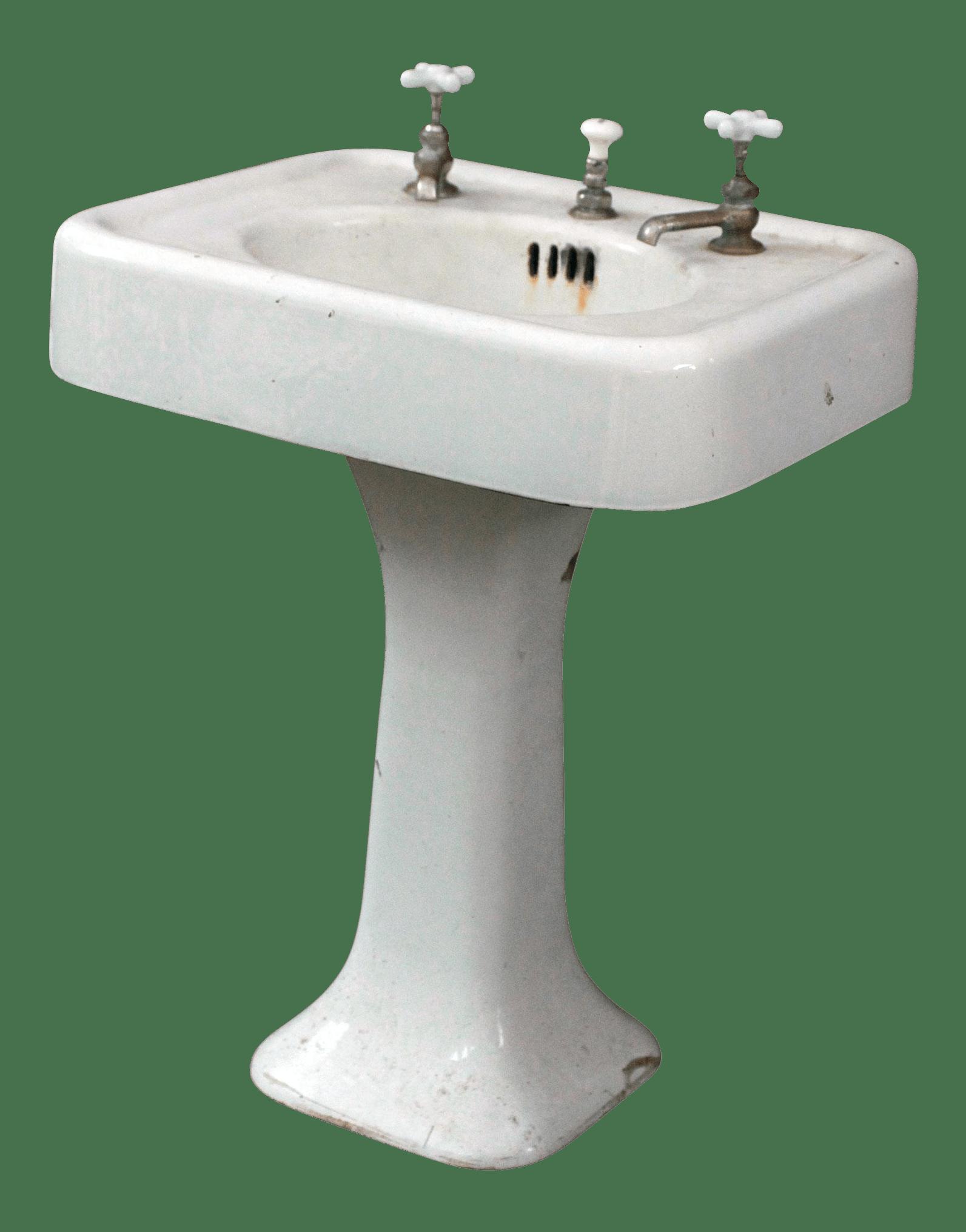 1920 s antique cast iron porcelain pedestal sink