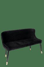 Merlin Diamond Upholstered Settee Bench In Black Chairish