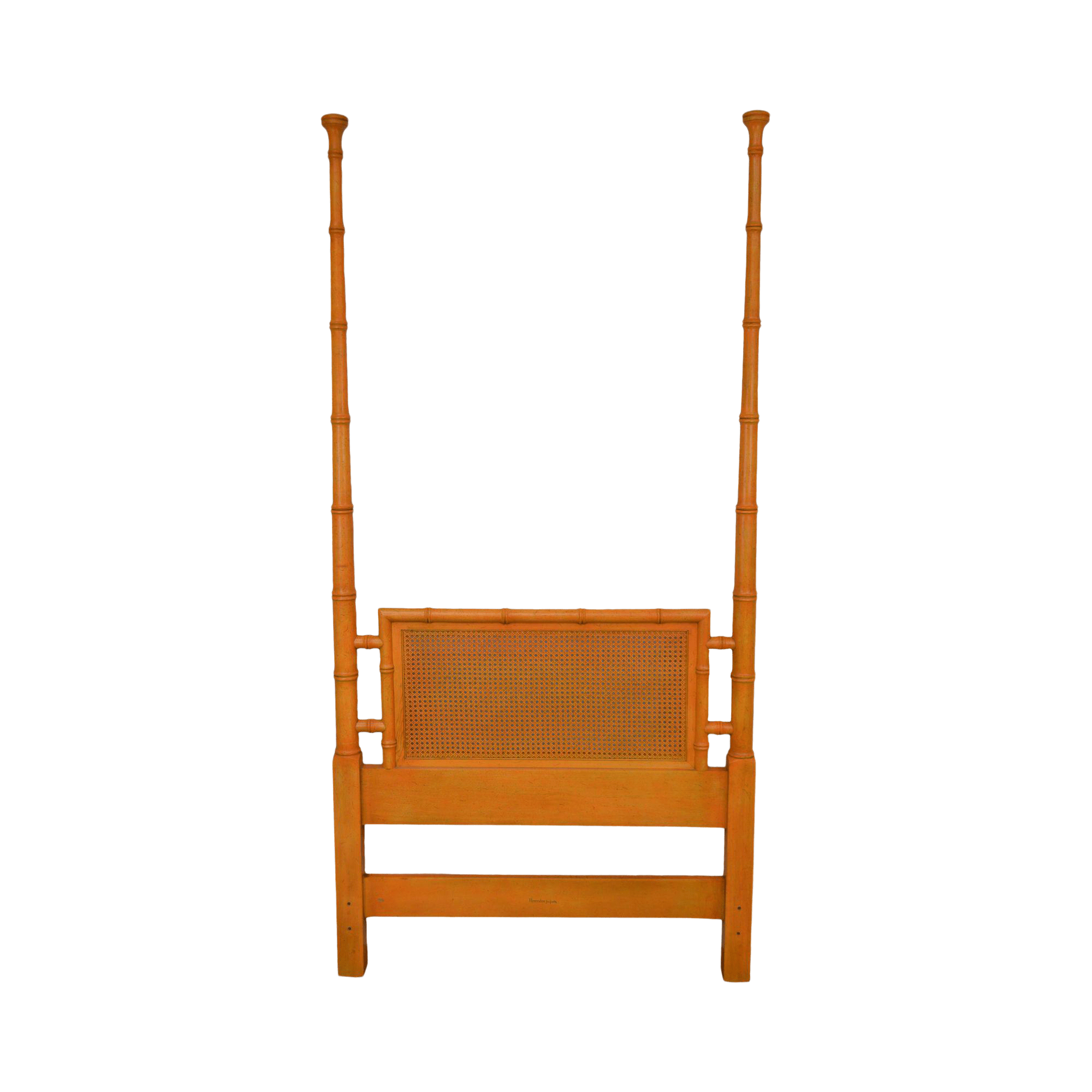 henredon faux bamboo orange painted caned twin poster headboard