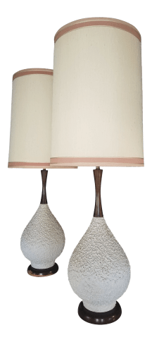 Mid Century White Textured Ceramic And Wood Lamps A Pair Chairish