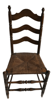 Antique Ladder Back Rush Seat Chair Chairish