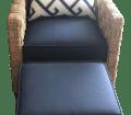 Ethan Allen Balta Seagrass Armchair And Ottoman Set With Pillow Chairish
