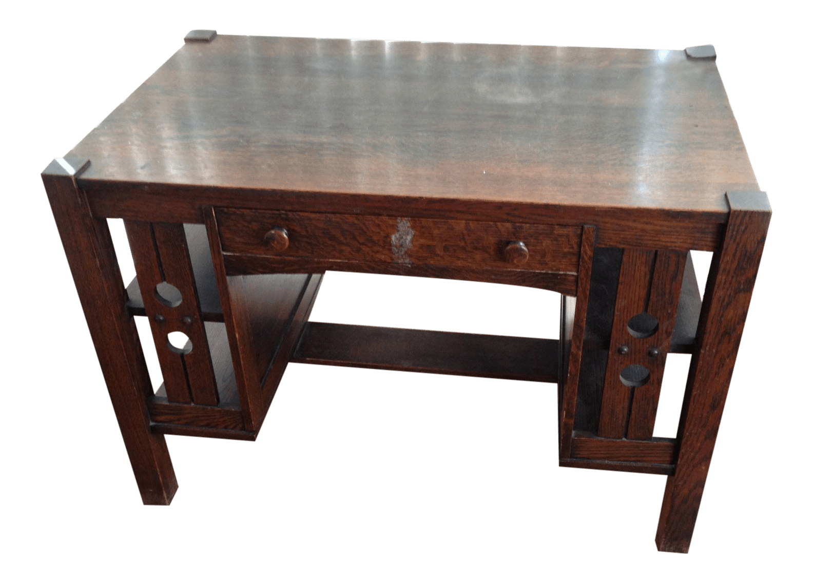 Antique Mission Oak Arts And Crafts Library Desk With Shelves Chairish