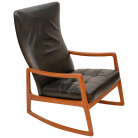Danish Teak And Leather High Back Rocking Chair By Ole Wanscher